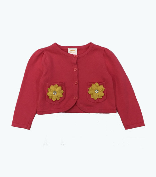 Coral Flower Cardigan Sweater