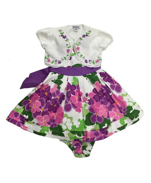 Purple Blossom Print Dress w/ Matching Shrug