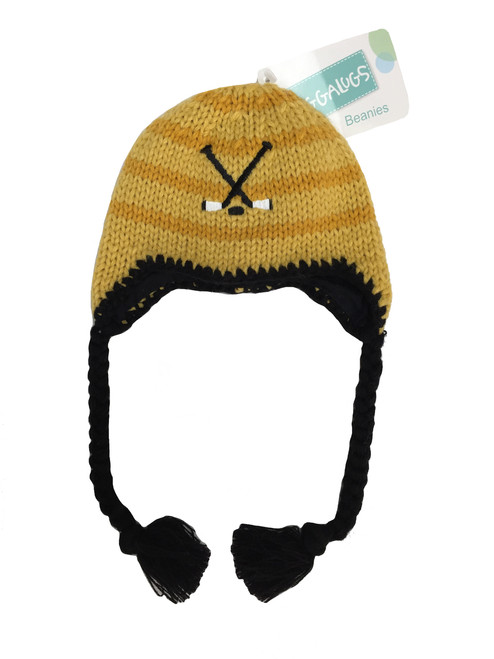Gold & Black Hockey Beanie Hat