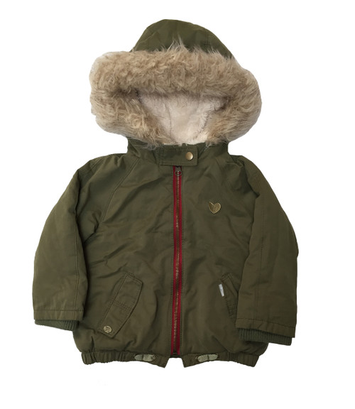 Olive Faux Fur Hooded Jacket