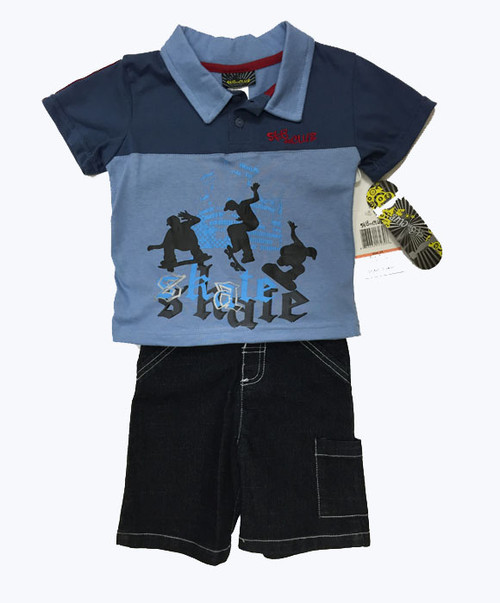 Shirt and Denim Shorts Set