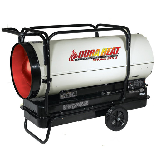 Dura Heat DFA650T 650,000 BTU Kerosene Forced Air Heater with Thermostat, Wheels and Mobility Cage Included