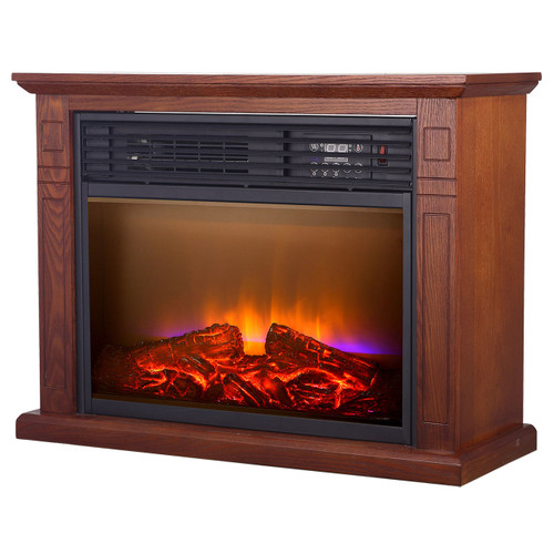 quartz caster heater pdx watt log flame deluxe wood della infrared fireplace cabinet improvement home