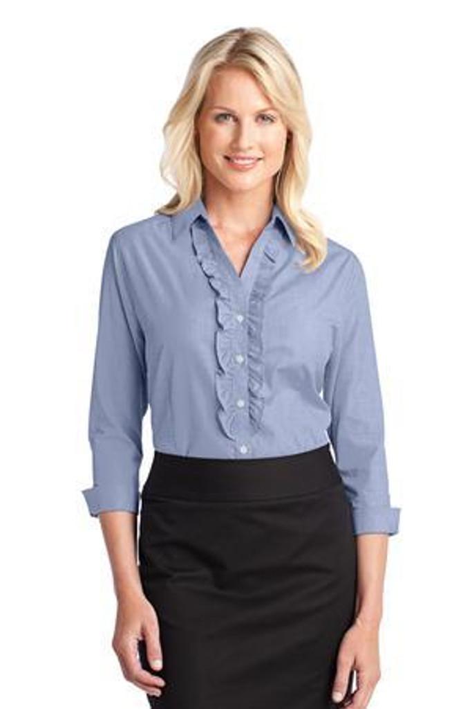 Ladies Crosshatch Ruffle Easy Care Shirt
