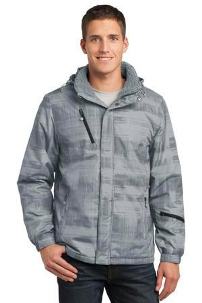 Brushstroke Print Insulated Jacket