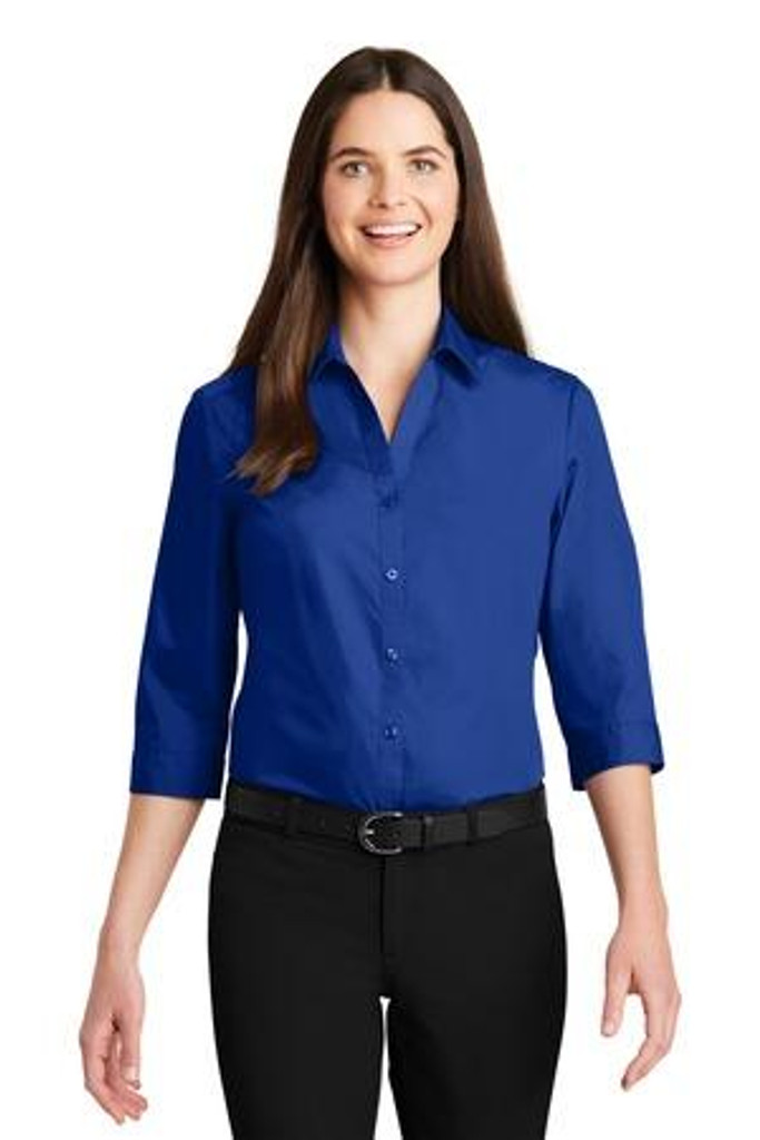 Ladies 3/4-Sleeve Carefree Poplin Shirt