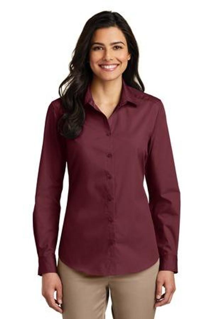Ladies Long Sleeve Carefree Poplin Shirt