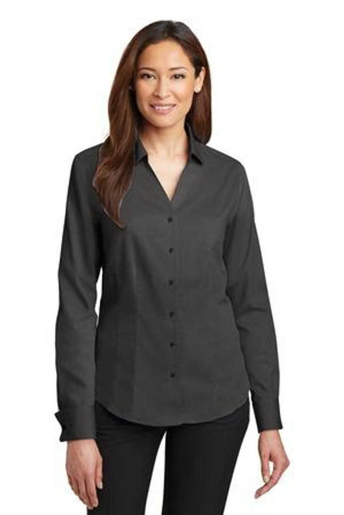 Ladies French Cuff Non-Iron Pinpoint Oxford Shirt