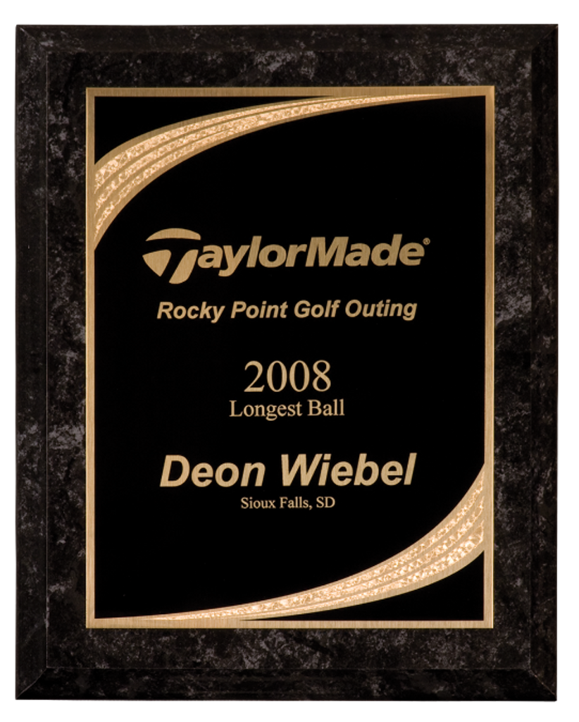 Black Marble Finish Plaque with Black Majestic Plate