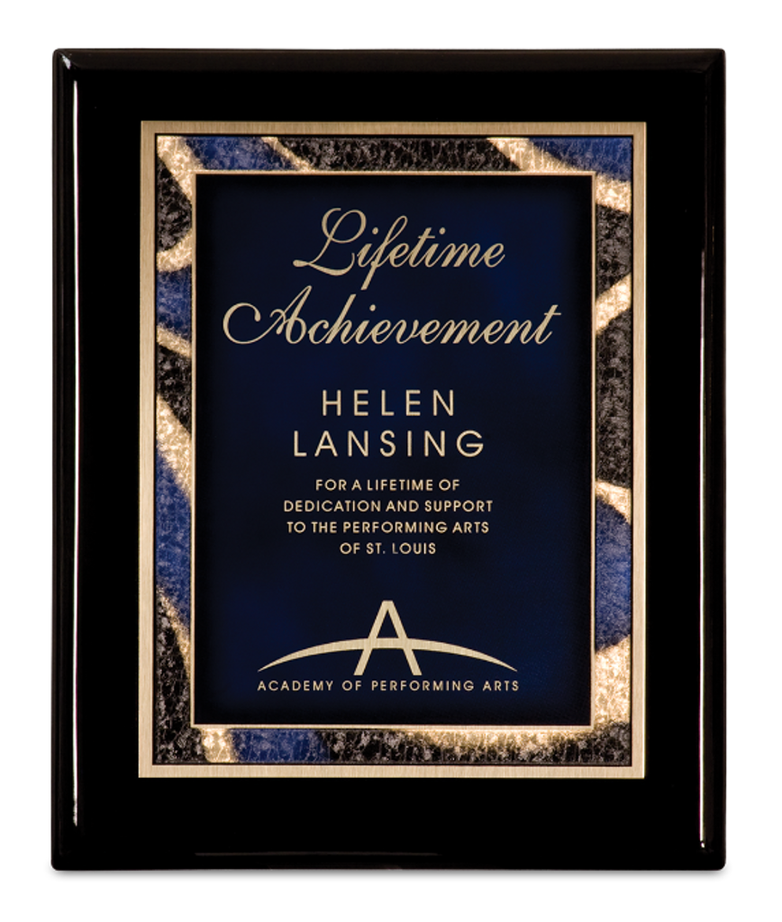 Black Piano Finish Plaque with Blue Artist Plate