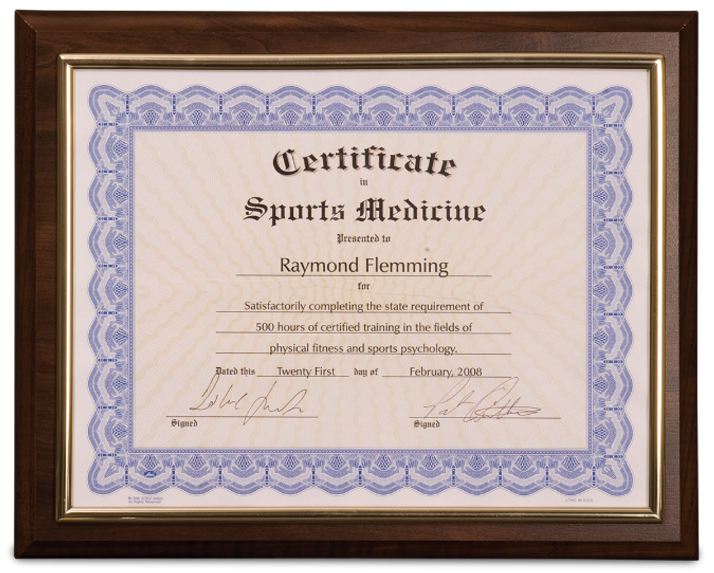 Cherry Finish Plaque with Gold Slide-In Certificate Frame