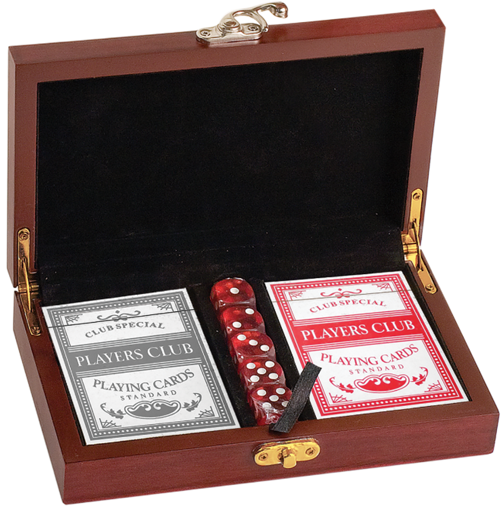 Rosewood Finish Card & Dice Gift Set