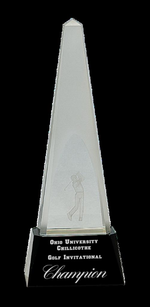 Crystal 3D Golf Spire on a Black Crystal Base