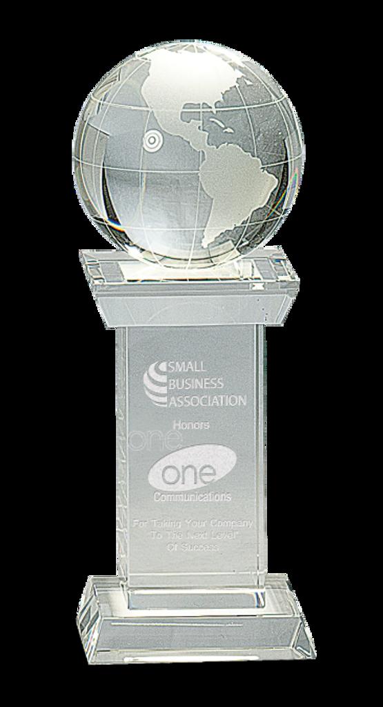 Crystal Globe on Clear Crystal Tower Base