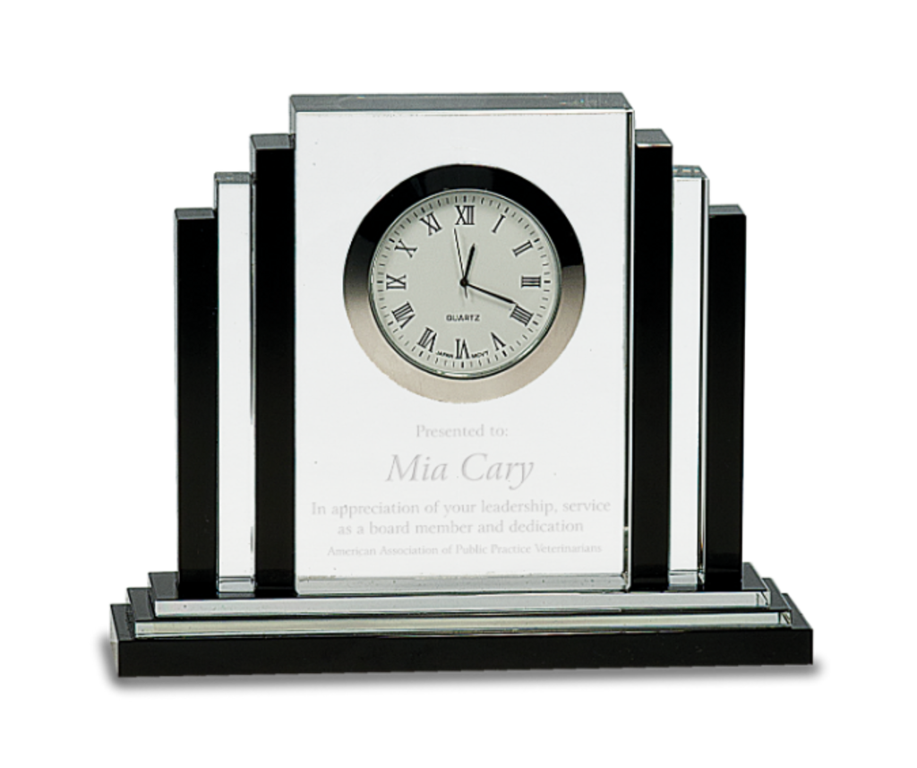 Premier Crystal Clock with Black Crystal Trim