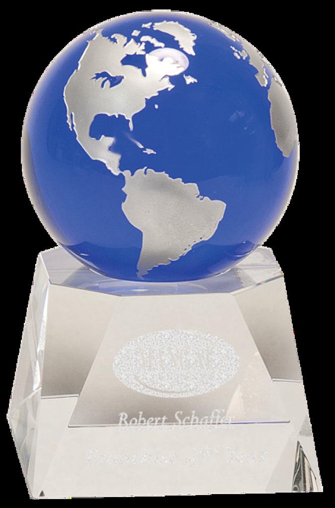 Blue Crystal Globe on a Clear Crystal Base