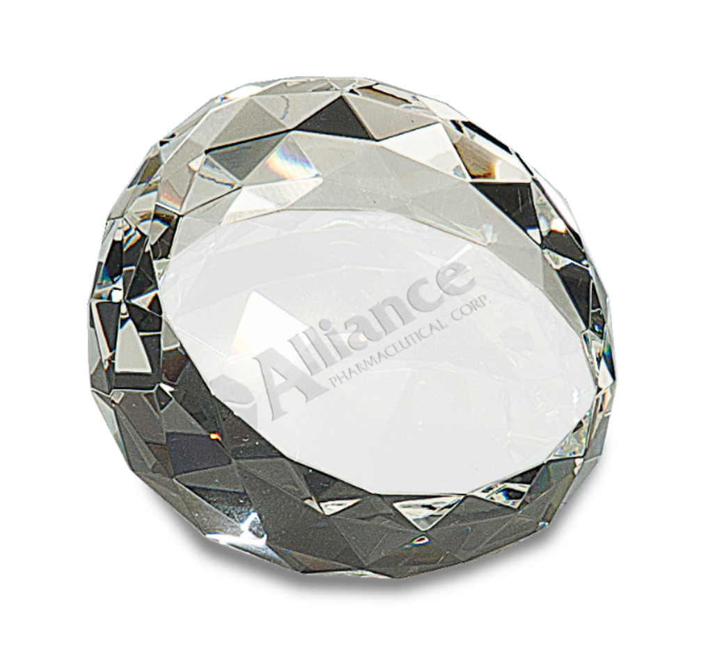 Premier Crystal Round Faceted Paperweight 66