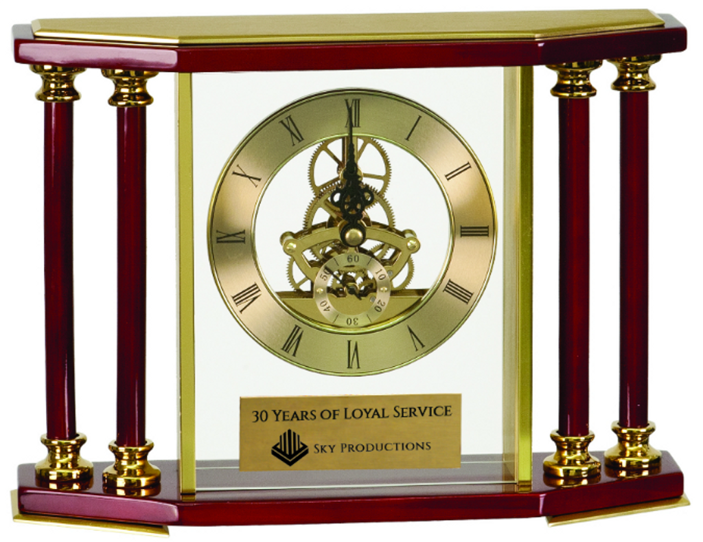 Executive 4-Pillar Gold & Rosewood Piano Finish Clock