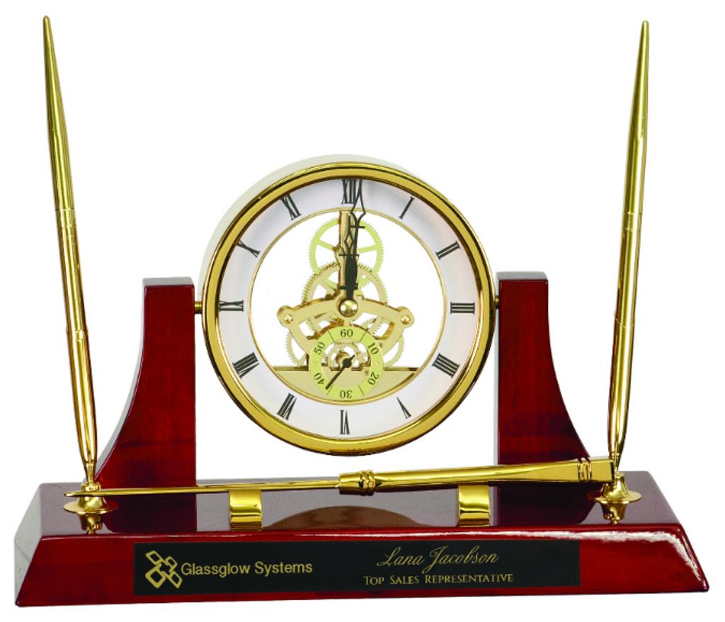 Executive Gold/Rosewood Piano Finish Clock/Pens/Ltr Opener