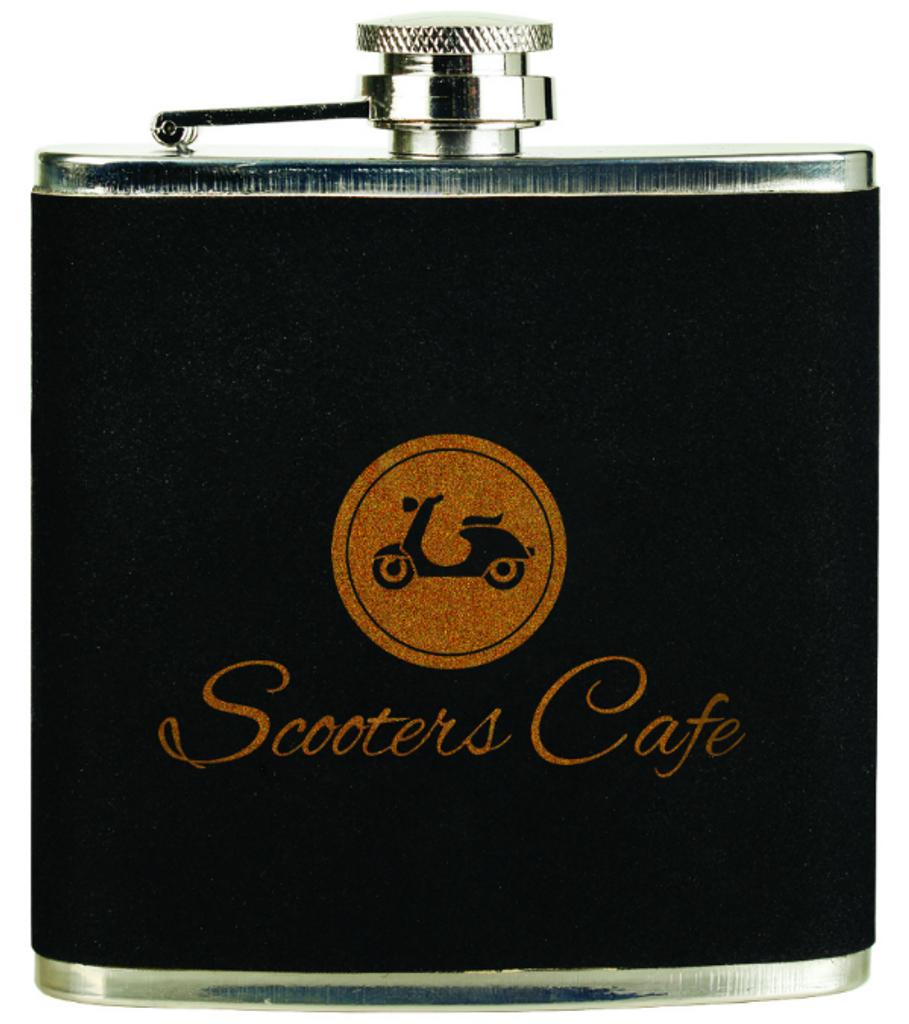 Black Velvet/Gold Stainless Steel Flask