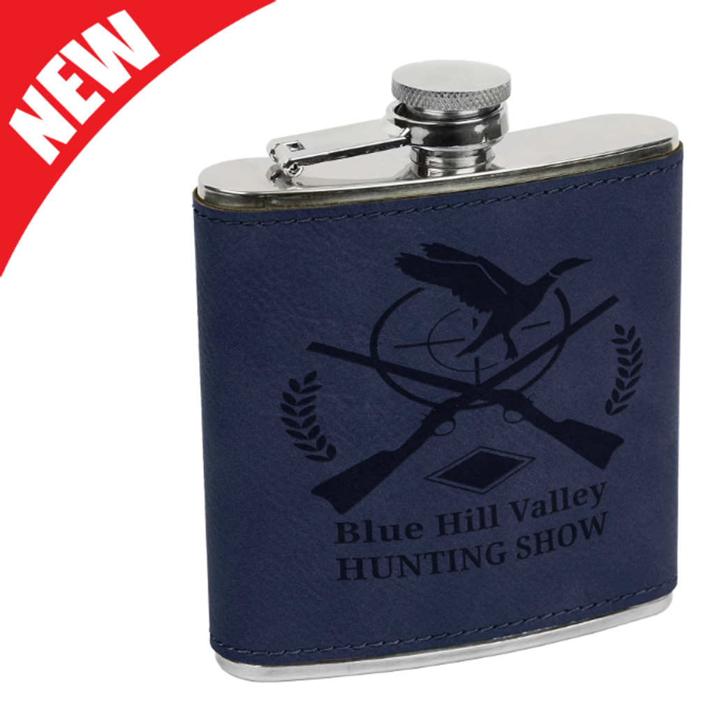 Blue Leatherette Flask