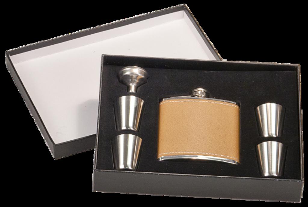 Leather Flask Set in Black Presentation Box w/4 Shot Glasses & Funnel