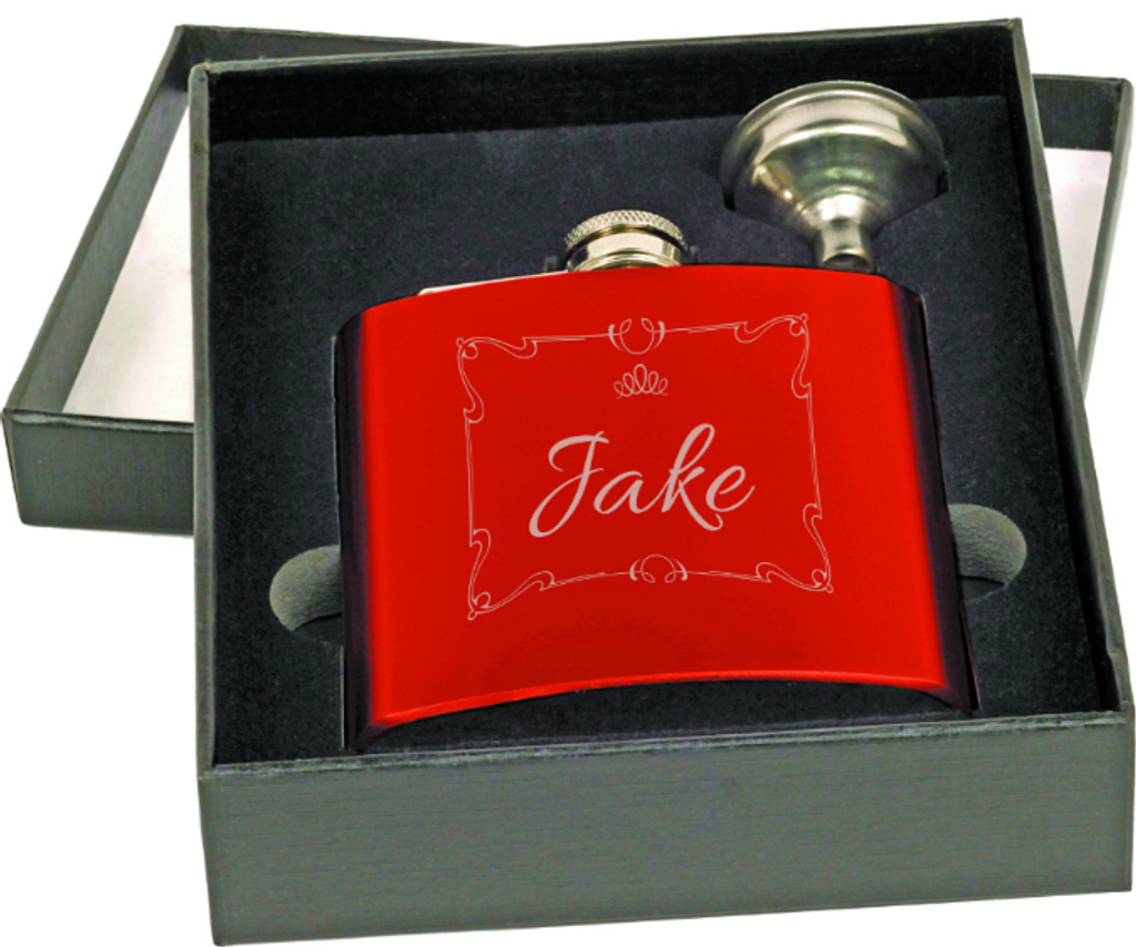 Gloss Red Flask with Funnel Gift Set