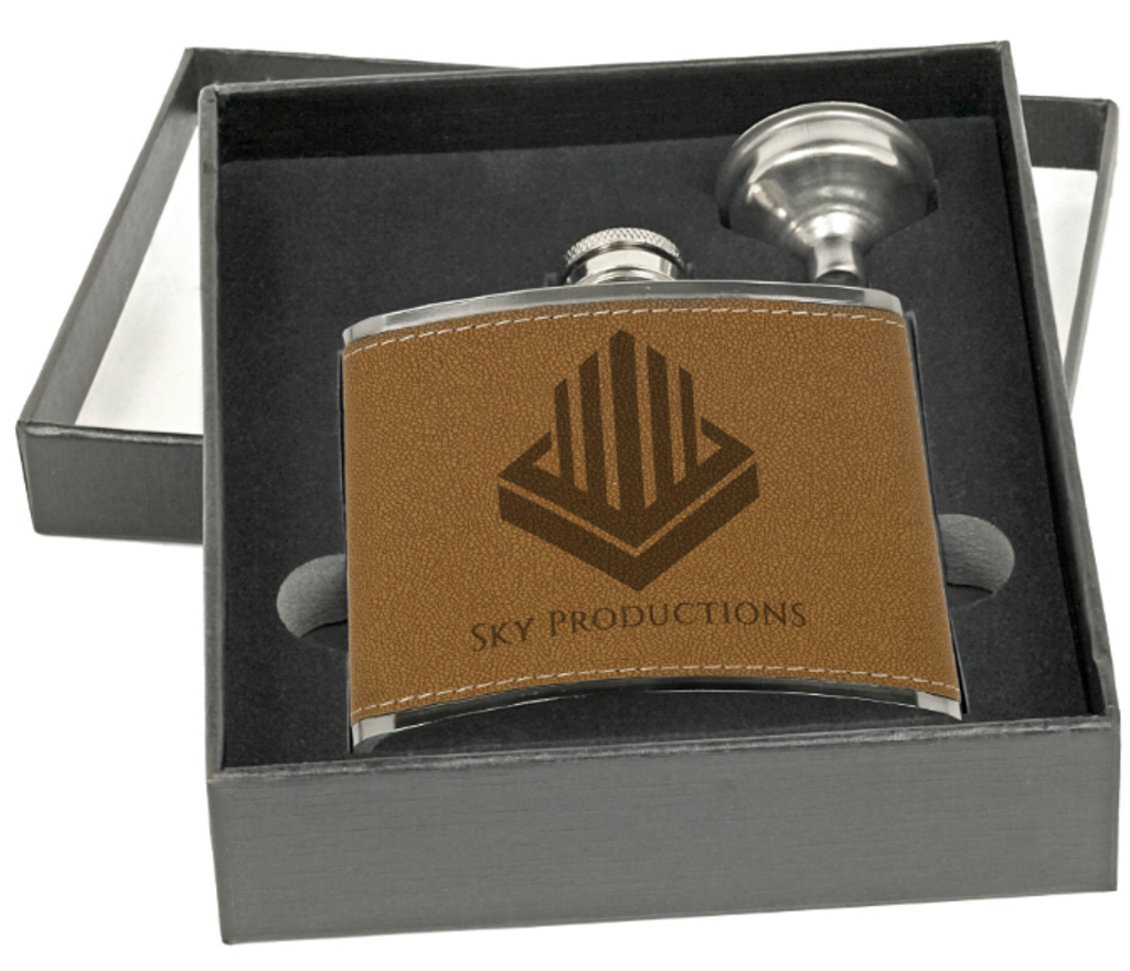Leather Flask with Funnel Gift Set