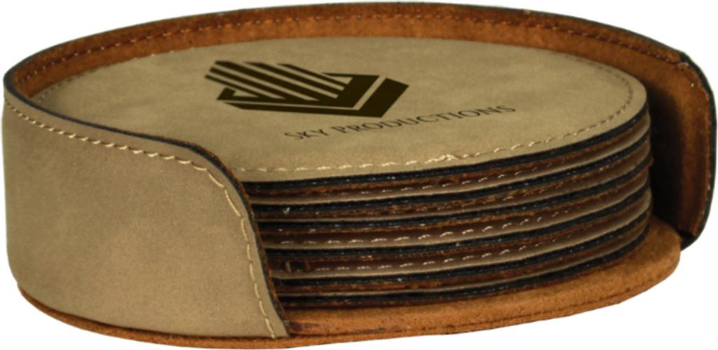 Light Brown Leatherette Round 6-Coaster Set