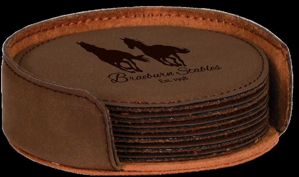 Dark Brown Leatherette Round 6-Coaster Set