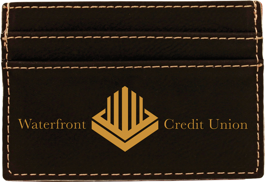 Black Leatherette Money Clip & Card Holder