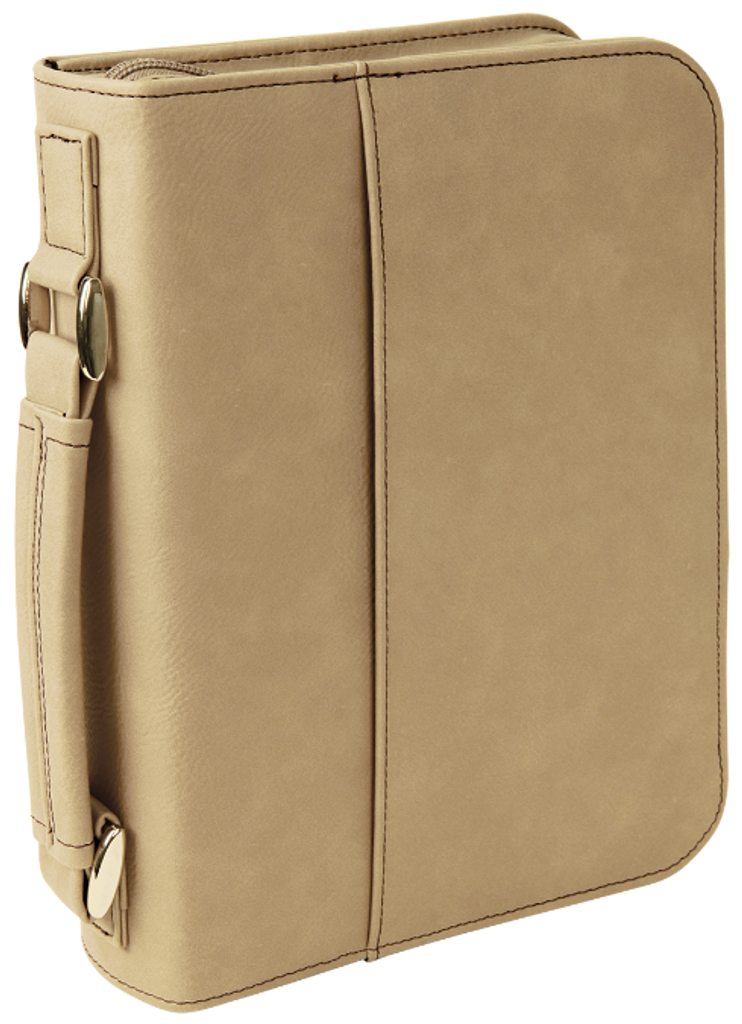 Light Brown Leatherette Book/Bible Cover w/Zipper & Handle
