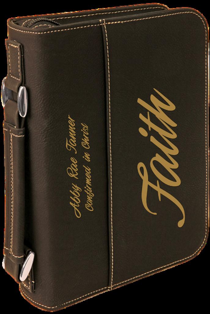 Black Leatherette Book/Bible Cover w/Zipper & Handle