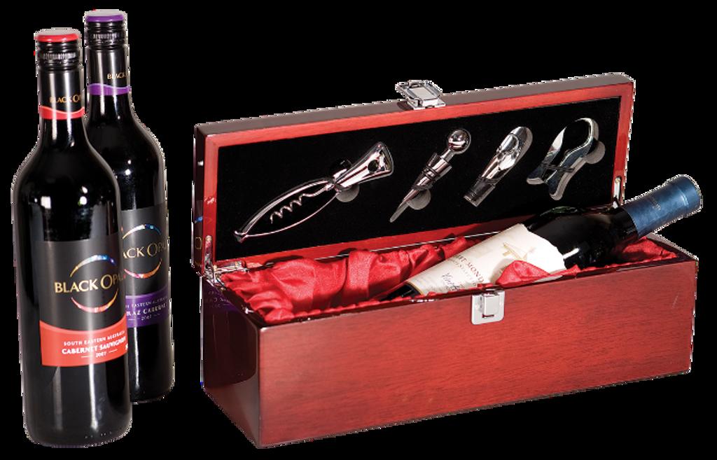 Rosewood Piano Finish Single Wine Presentation Box with 4 Tools