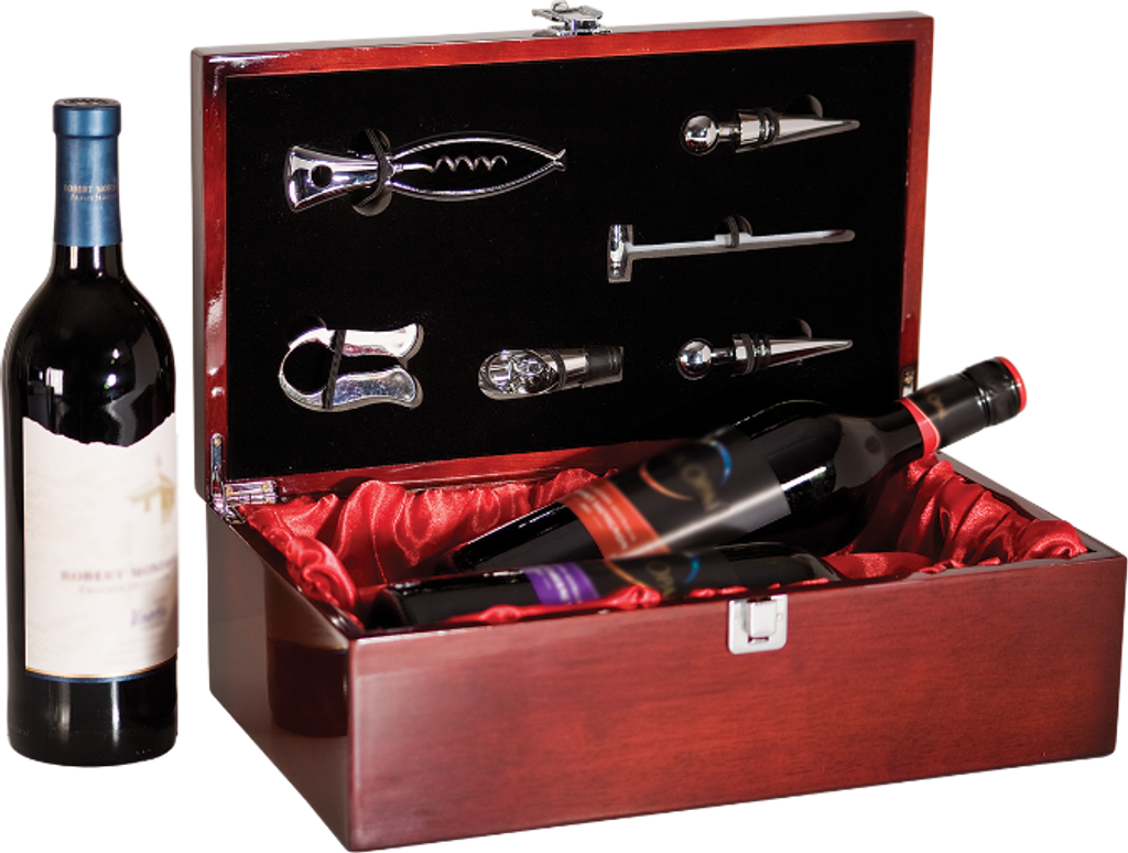 Rosewood Piano Finish Double Wine Presentation Box with 6 Tools