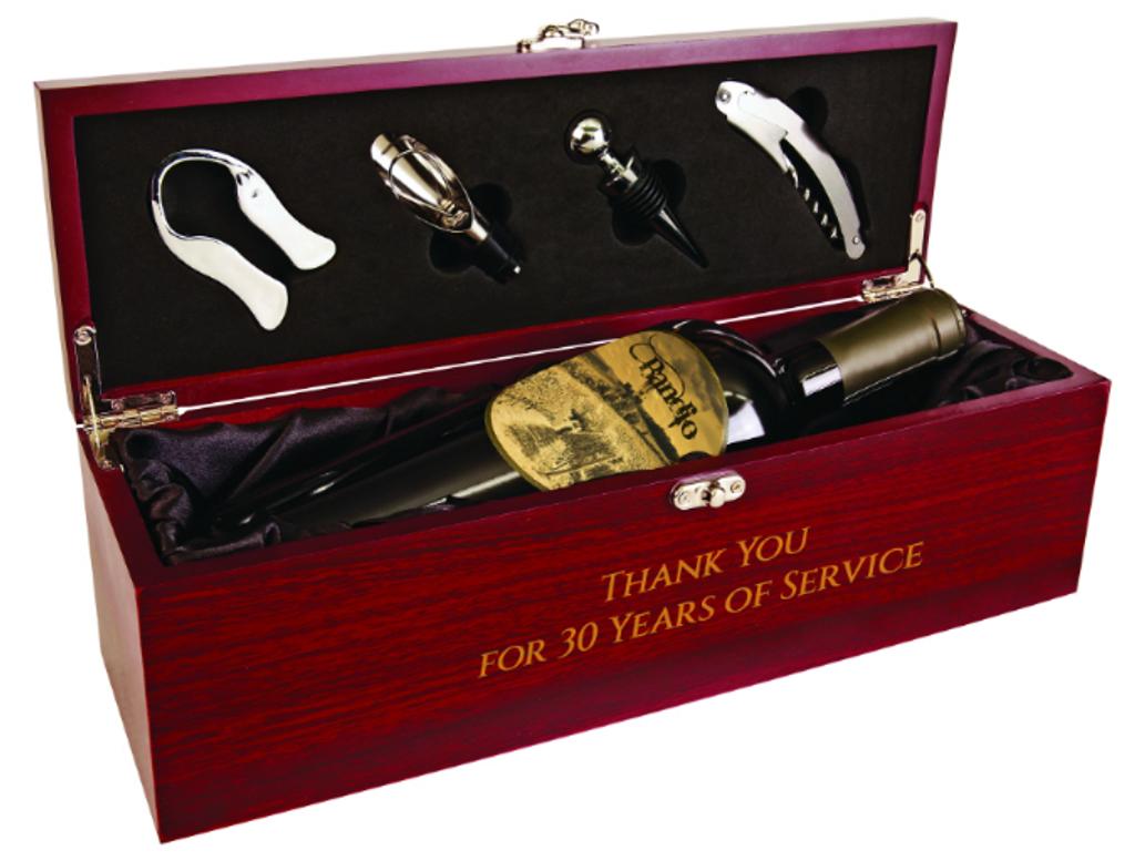 Rosewood Finish Single Wine Box with Tools & Black Lining