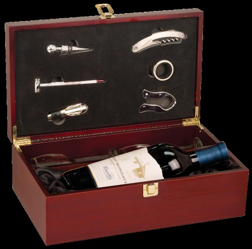 Rosewood Finish Single Wine Presentation Box with 6 Tools & 2 Glasses