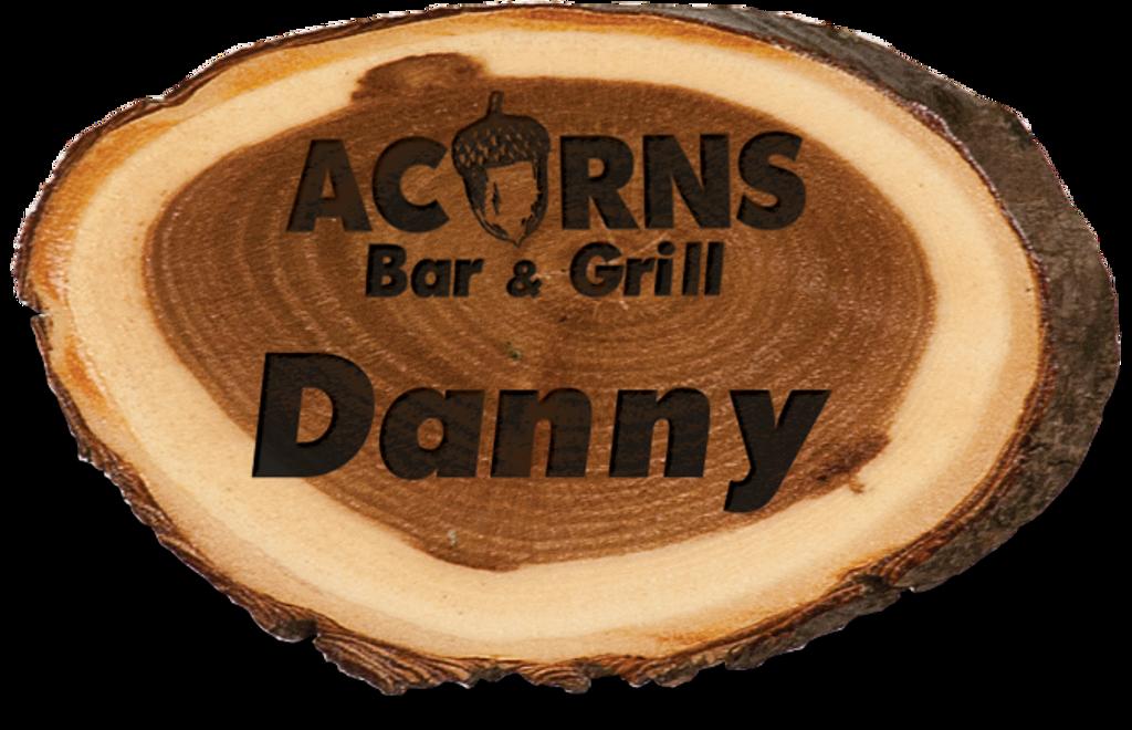 Genuine Wood Old West Log Name Badge