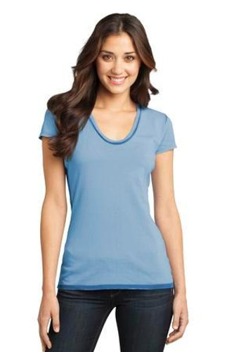 Juniors Faded Rounded Deep V-Neck Tee