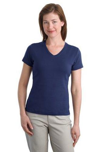 Ladies Modern Stretch Cotton V-Neck Shirt