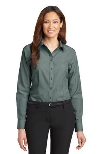 Ladies Mini-Check Non-Iron Button-Down Shirt
