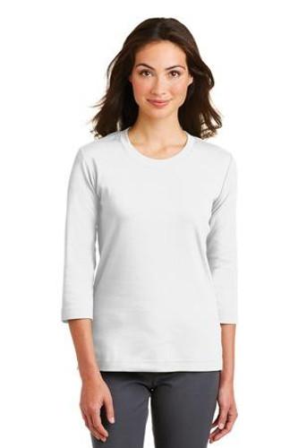 Ladies Modern Stretch Cotton 3/4-Sleeve Scoop Neck Shirt