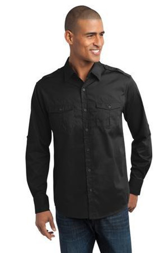 Stain-Release Roll Sleeve Twill Shirt
