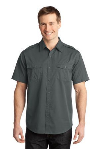 Stain-Release Short Sleeve Twill Shirt