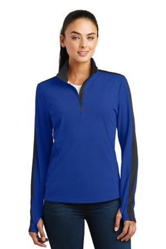 Ladies Sport-Wick Textured Colorblock 1/4-Zip Pullover