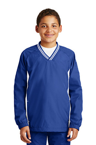 Youth Tipped V-Neck Raglan Wind Shirt