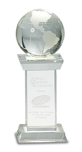 Crystal Globe on Clear Crystal Tower Base