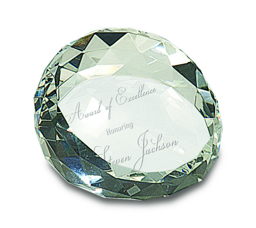 Premier Crystal Round Faceted Paperweight