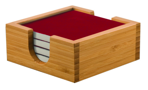Bamboo Coaster Holder with Red Ceramic Coasters