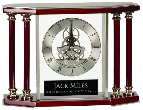 Executive 4-Pillar Silver & Rosewood Piano Finish Clock